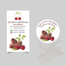 Дизайн бирка, наклейка вишня в шоколаде (арт.12-78)