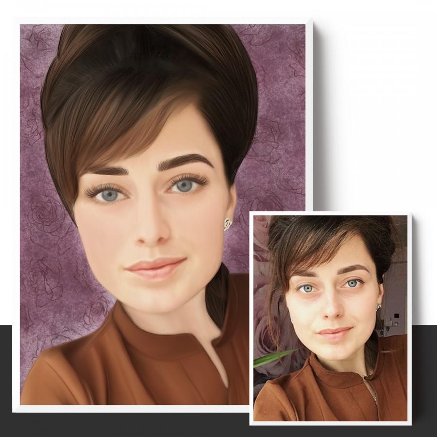 Женский портрет по фото на заказ. Цифровой портрет