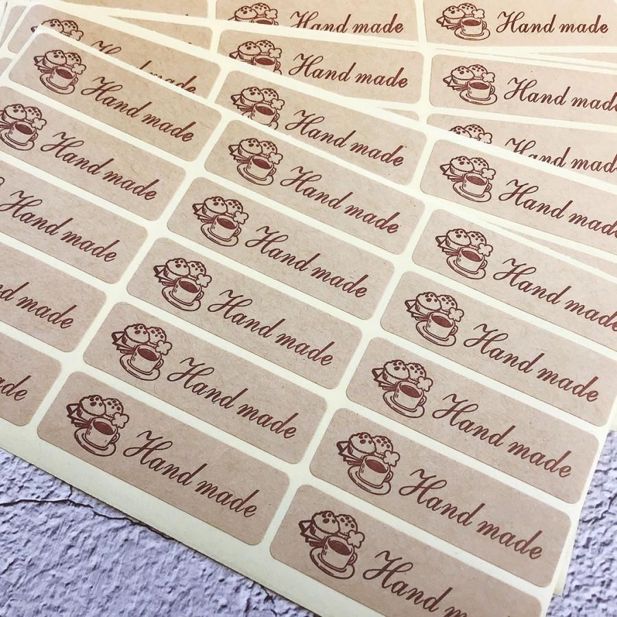Готовое. Наклейки на крафт бумаге 5х1.5 см прямоугольник HandMade с тортиками (арт.80-8)