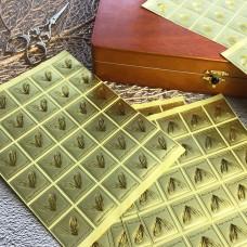 Готовое. Наклейки 30шт. набор на золотой бумаге 2,5 см квадрат Special Hearts Day (арт.80-11)