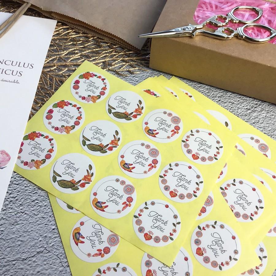 Готовое. Наклейки 12 шт набор 3,5 см круг с цветами и птичками (арт.80-7)