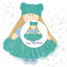 Свободный логотип  для рукодельниц  текстильных кукол тыквоголовки (арт. 78-10)