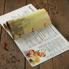 Деревянное меню на кольцах нестандарт. Подложка под меню обложку