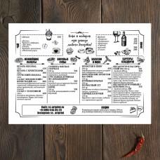 Крафт меню для ресторана дизайн А3 #7
