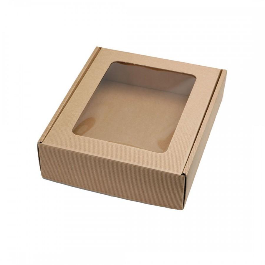 Коробка с окошком крафт  100х80х35 мм