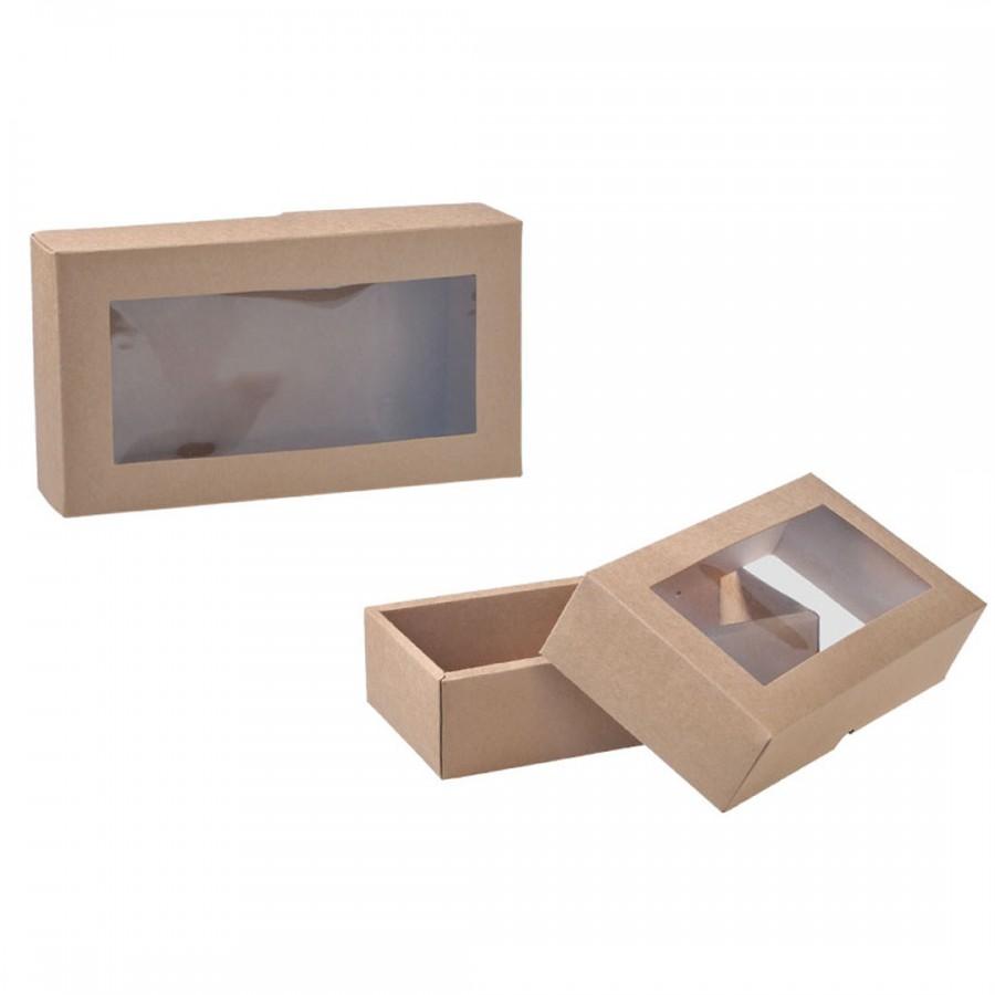 Коробка с окошком крафт  170х70х40 мм