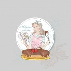 ПРОДАН логотип девушка с тортом кондитер (арт. 78-6)