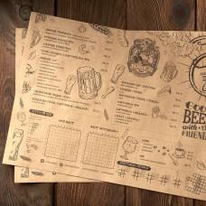 Срочная печать меню на крафте А3  ЗА 1 ДЕНЬ