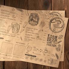Срочная печать меню на крафте А3. Меню на крафтовой бумаге